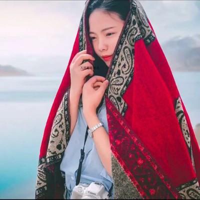 围巾女冬季新疆西藏旅游仿羊绒大披肩百搭装饰民族风加厚开叉斗篷