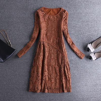 欧洲站女士中长款蕾丝加绒打底衫2018新款上衣大码春秋装洋气小衫