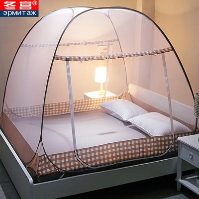蒙古包蚊帐学生免安装加厚支架拉链1.2米1.8m家用1.5宿舍单双人床