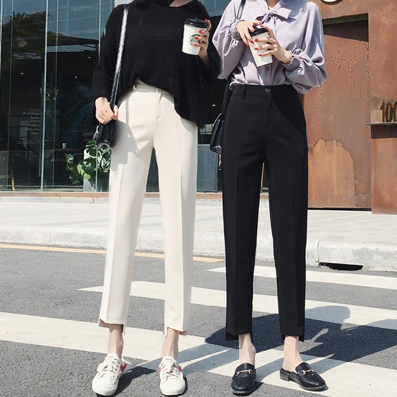 韩版宽松百搭新款直筒九分裤