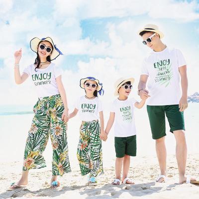 沙滩亲子装夏全家装海边度假套装一家三口女夏泰国旅游衣服情侣装