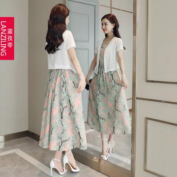棉麻连衣裙披肩两件套2018新款夏装大码显瘦中长款亚麻碎花背心裙