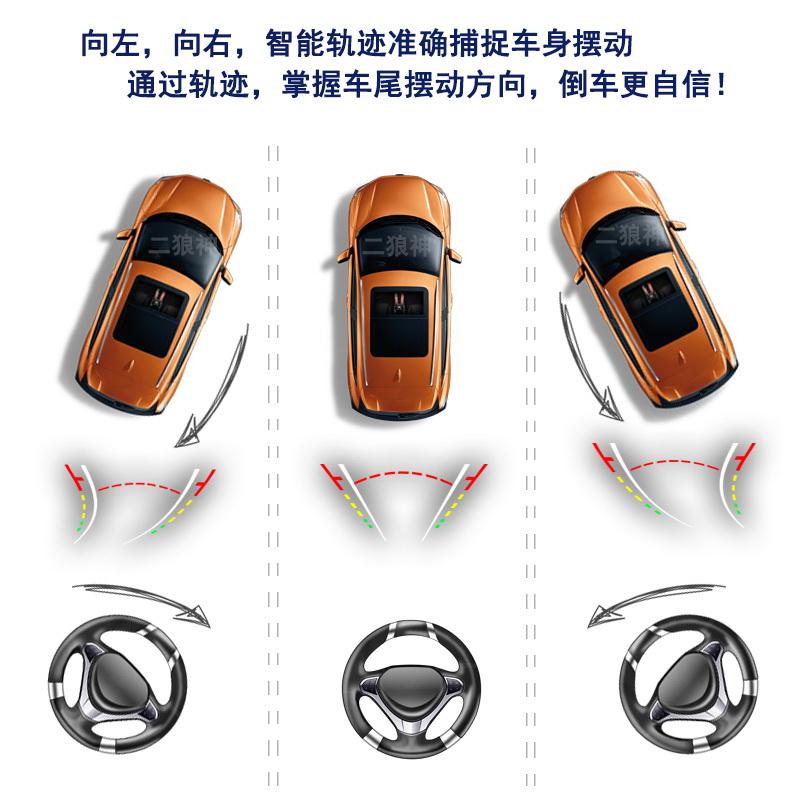 倒车轨迹动态车载摄像头后置全景可视盲区影像雷达高清显示器通用