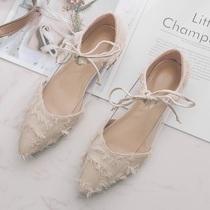 Lace-up bas talons plats chaussures pour femmes pointues à bouche peu profonde arc chaussures pour femmes tassel de printemps Baotou épais avec des chaussures simples fée