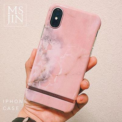 richmond&finch苹果x iphone7/8plus粉色大理石纹RF手机壳ins超火