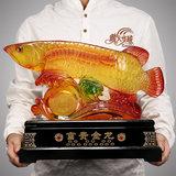 招财金龙鱼摆件风水琉璃聚财龙鱼现代简约家居饰品客厅装饰工艺品