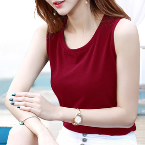 红色吊带背心女夏季外穿打底内穿搭韩版无袖上衣大码t恤短款小衫