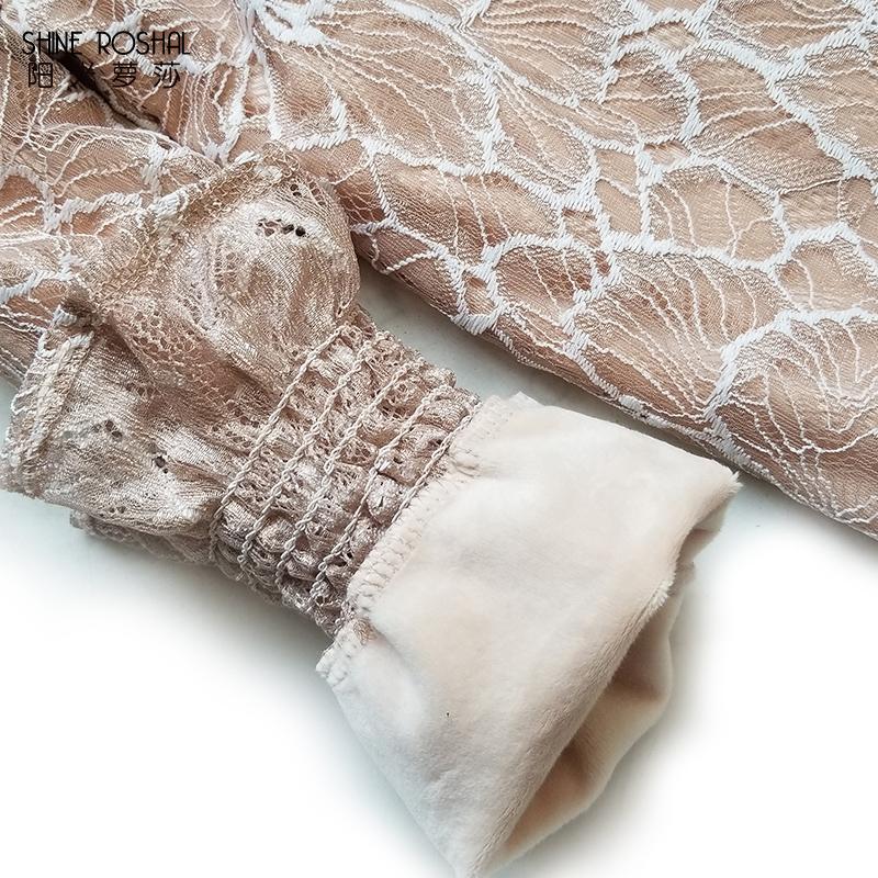 加绒加厚打底衫女2017秋冬新款韩版纯色上衣高领百搭长袖蕾丝衫