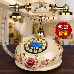 客厅家用美式电话座机 仿古电话机欧式田园复古老式守拘转新款