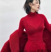 山羊绒衫 超细显瘦针织衫 毛衣打底衫 女秋冬羊毛衫 红色超薄高领修身