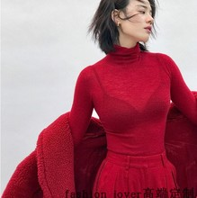 Red super-thin high-collar skilled cashmere sweater women's autumn and winter sweater super-thin knitted sweater sweater bottom sweater