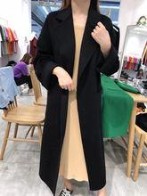 宽松高端双面呢外套 丝绒绿双面羊绒大衣女2019秋冬新款 中长款图片