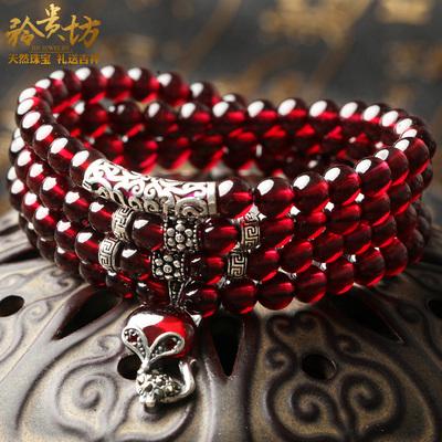 天然红石榴石手链 女情侣手链水晶手串首饰女流行饰品情人节礼物