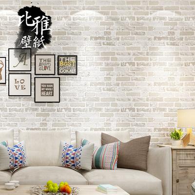 复古文化砖地中海餐厅理发店白色砖纹墙纸白砖红砖仿古砖块壁纸网上专卖店