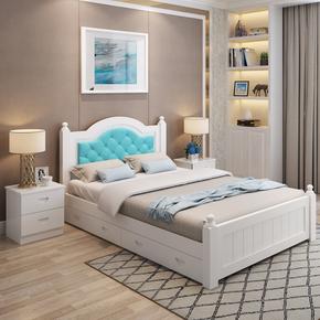 现代简约白色实木床松木欧式双人床主卧儿童单人床1.5 1.2 1.8米