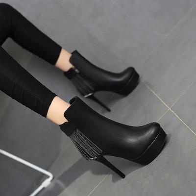 秋女鞋新款冬靴细跟超高跟流苏马丁靴短靴短筒侧拉链防水台大码40