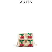 ZARA new children's bag girl cherry decorative rattan messenger bag 11013006020