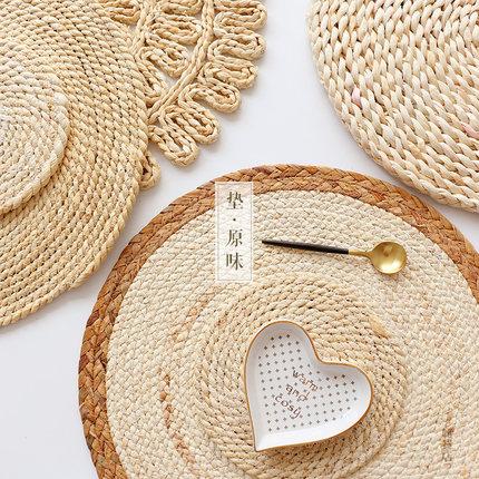 素丨餐垫 玉米皮原材隔热垫 草编圆形放烫锅垫杯垫碗垫家用草垫子