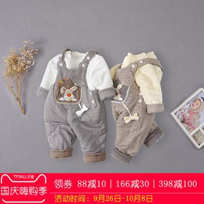 卡乐吉瑞比男宝宝冬装加厚棉衣背带棉裤套装婴儿2件套棉服外出服