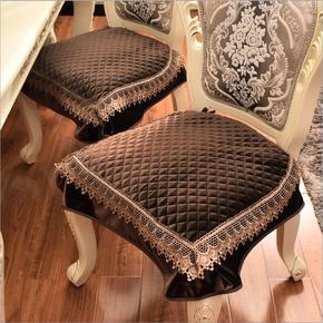 欧式餐椅垫坐垫奢华百搭四季毛绒蕾丝布艺裙边椅子垫凳子座垫定做