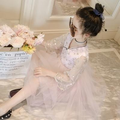 童装女童夏装2018新款连衣裙儿童中大童洋气公主裙子刺绣蕾丝纱裙