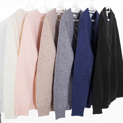 2018早春新款慵懒风薄针织开衫长袖圆领宽松羊绒衫短款毛衣女外套