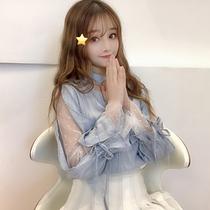春季女装新款韩版小清新假两件拼接蕾丝长袖网纱衬衫女设计感小众