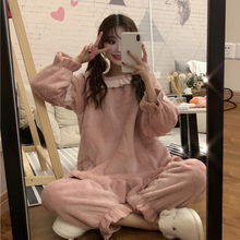 Ladies pajamas autumn clothes spring women's new 2019 Korean version of the sweet cute sleep pants thickening home service suit