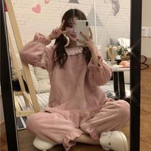 女士睡衣秋装春季女装新款2019韩版甜美可爱睡裤加厚家居服套装