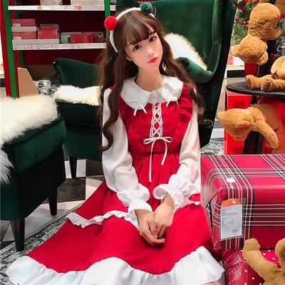 春季女装日系甜美蝴蝶结木耳边连衣裙女+娃娃领长袖衬衫两件套装