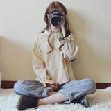 秋冬女装日系软妹喇叭袖娃娃衬衫上衣+格子长裤休闲时尚学生套装
