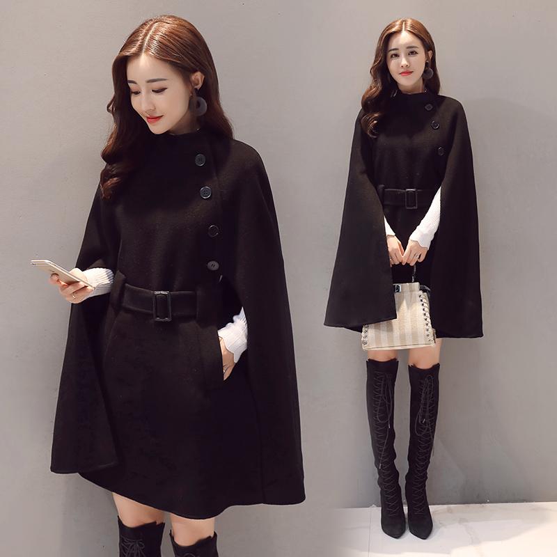女裝英倫毛呢外套中長款披風式斗篷蝙蝠型披肩秋冬季chic呢子大衣圖片