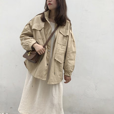 Windbreaker female long section Korean version of the fall 2018 new large size loose student ulzzang tooling collar collar coat