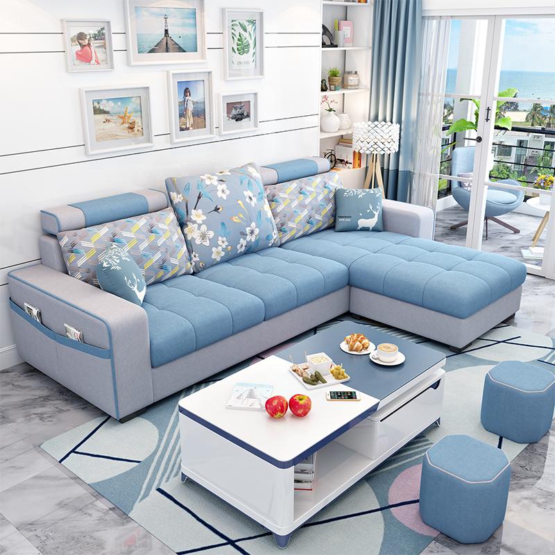 简约现代布艺沙发小户型客厅家具整装转角组合可拆洗三人位布沙发