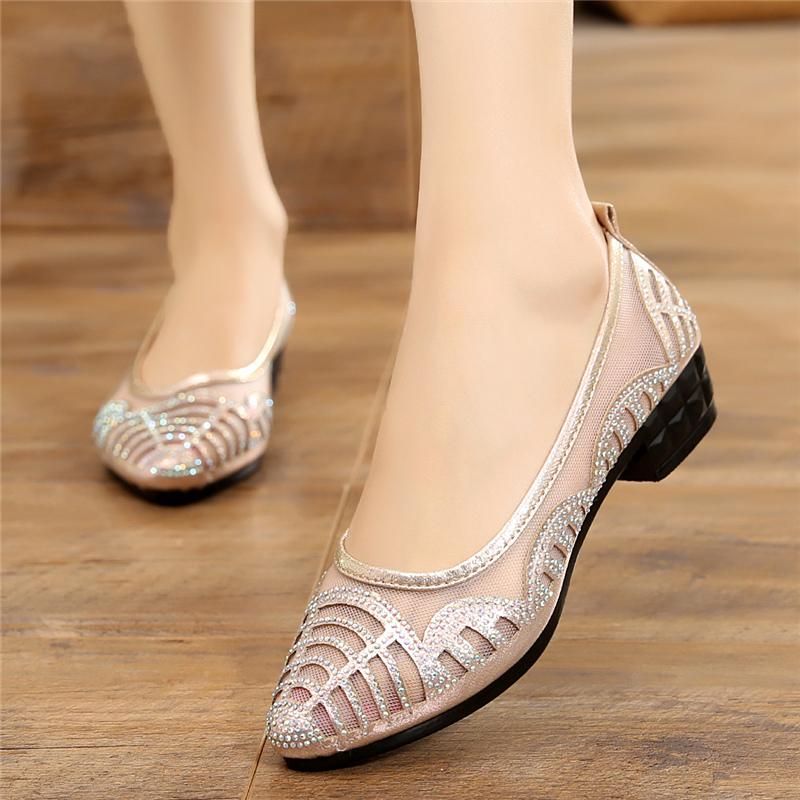 时尚网布平跟鞋
