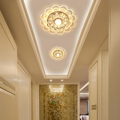 现代简约明装暗装水晶过道灯客厅入户走廊天花灯圆形玄关灯吸顶灯