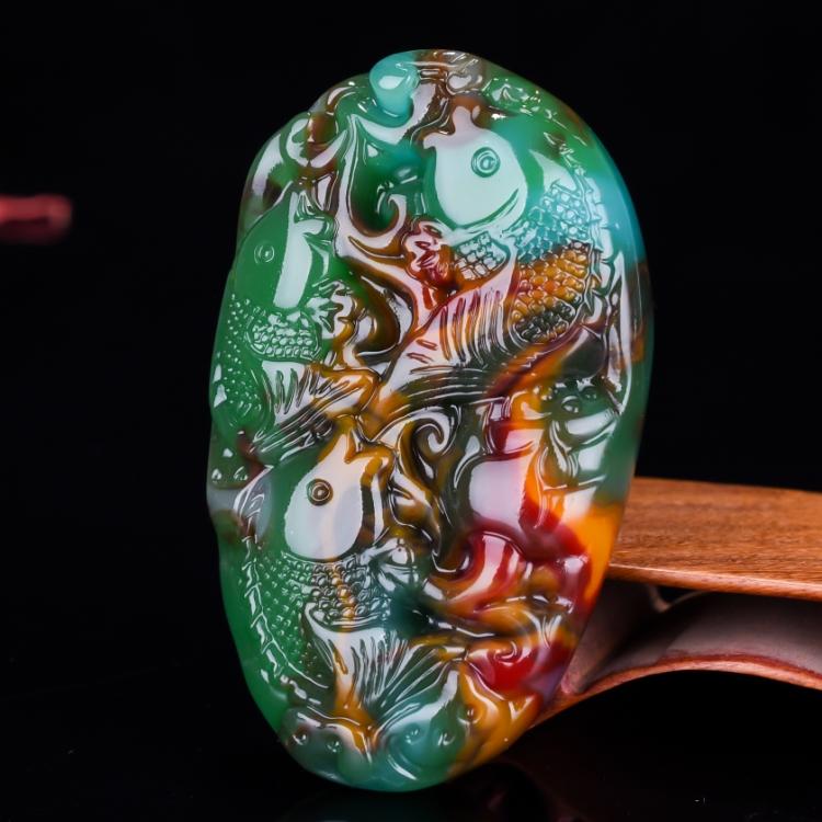 天然新疆和田玉鱼把件籽料彩玉手把件挂件金丝玉连年有余手玩件