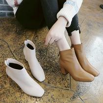 秋冬女靴欧美编织系带圆头短筒低跟马达芙妮旗下Daphne