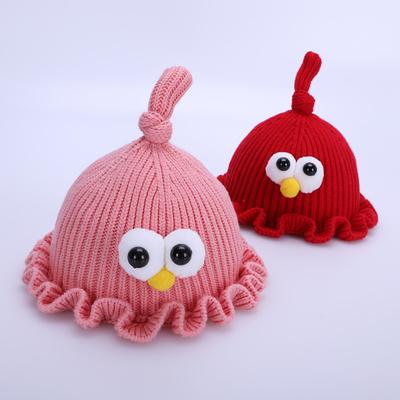 婴儿帽子冬季女宝宝毛线帽3-20个月6秋冬天可爱公主帽女童针织帽