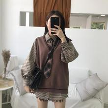 Sevi home chic college wind loose Korean version of the sleeveless knitted wool vest vest female autumn 2018 new
