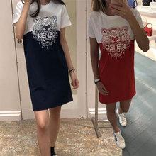三高田印花虎头t恤2019夏季賢太极撞色网红宽松连衣裙短袖 正品