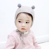 韩国进口婴儿帽子纯棉男女宝宝可爱纯棉帽小熊耳朵加厚护耳帽保暖