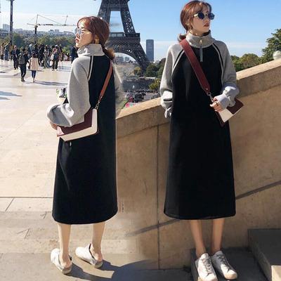 2018秋冬新款韩版学生宽松长袖加绒高领卫衣裙女中长款过膝连衣裙