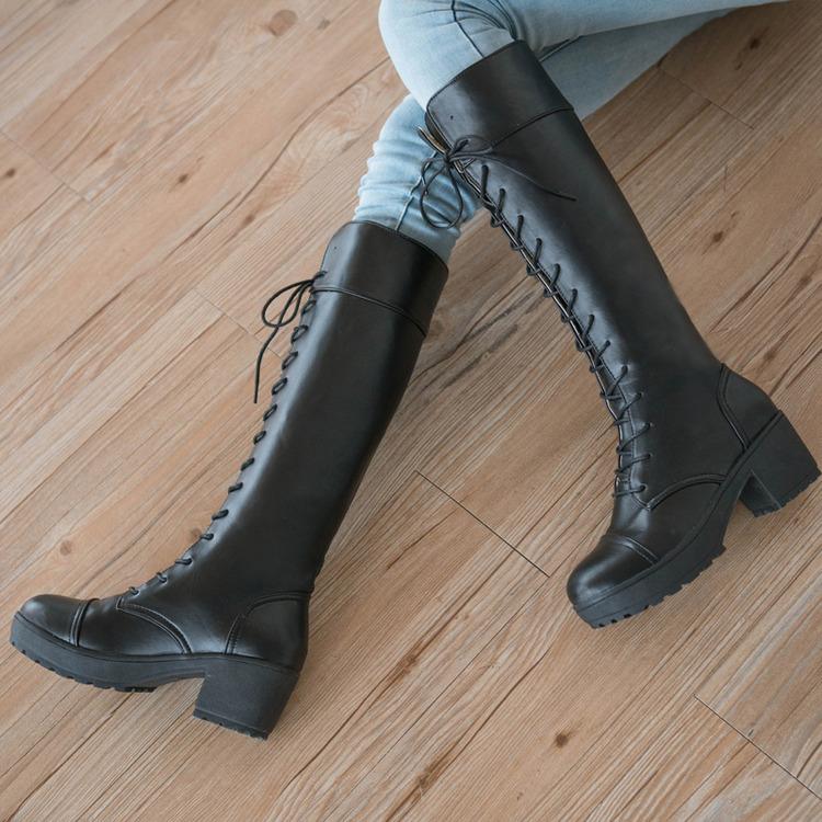 高筒靴粗跟厚底