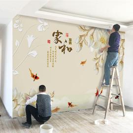 中式电视背景墙壁纸简约现代家用装饰客厅墙纸3d壁画定制影视墙布图片