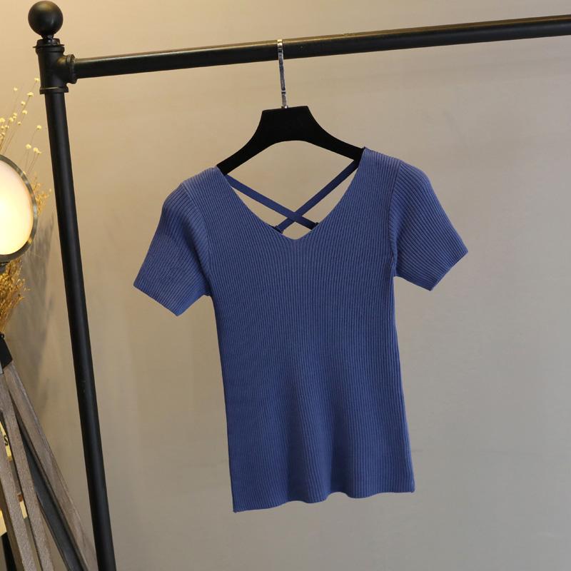 夏季冰丝T恤薄款露背交叉短袖2019短款针织T恤女 V领显瘦打底衫潮
