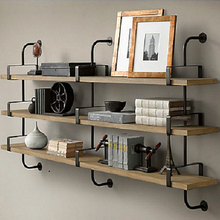 实木墙上置物架铁艺壁挂墙面墙壁置物架客厅卧室一字隔板架层板架