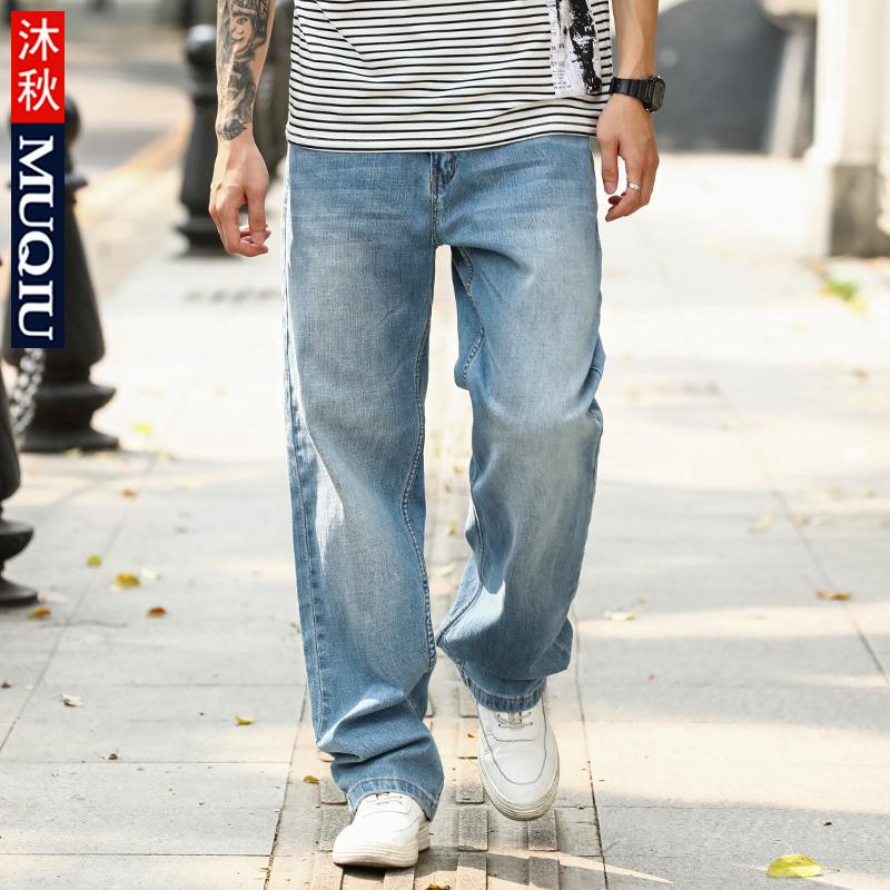 沐秋春夏季牛仔裤男士宽松直筒薄款大码夏天青年休闲粗腿浅色长裤