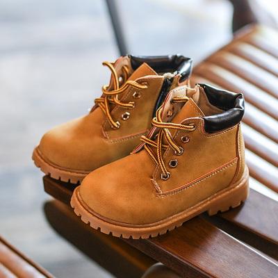 2018秋季新款儿童鞋靴子男童短靴女童棕色马丁靴小黄鞋中筒靴单鞋