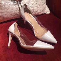 欧美浅色透明高跟鞋2018秋款百搭白色真皮细跟拼接尖头女单鞋